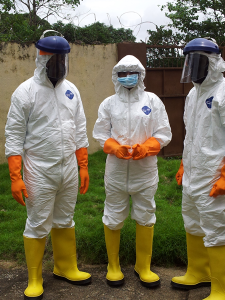 Healthcare workers in Sierra Leone wearing personal protective equipment. Image reproduced with the kind permission of Mr. Rashid Ansumana.