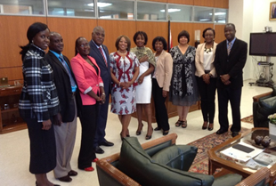 Meeting held with the Minister of Health of Angola (4th from left) and members from ASLM, CDC and AFENET