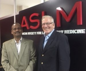Dr Ali Elbireer, CEO of ASLM, and Prof Howard Morris, President of IFCC